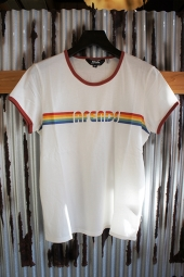【LADY'S ITEM】 AFENDS Rainbow Standard Fit Ringer Tee (Natu×Bric)