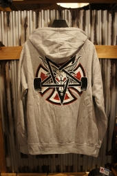 INDEPENDENT x THRASHER PENTAGRAM CROSS PULLOVER HOODIE (GREY)