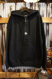 AFENDS Contrast HALF ZIP PULL ON HOOD (BLACK)